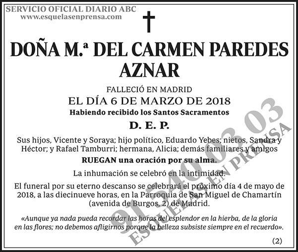 M.ª del Carmen Paredes Aznar